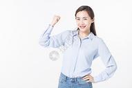 开心青年女性加油图片