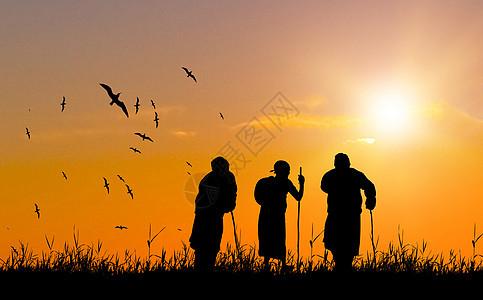夕阳下老人剪影图片