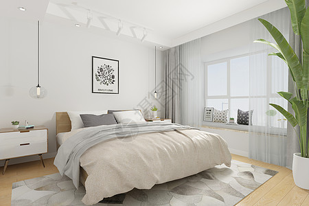 北欧卧室空间场景设计图片