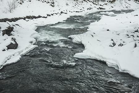 新疆天山冬季河流图片
