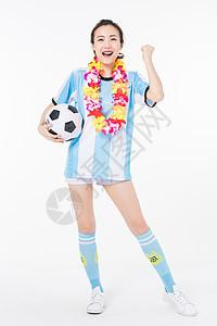 戴花环加油的足球宝贝图片