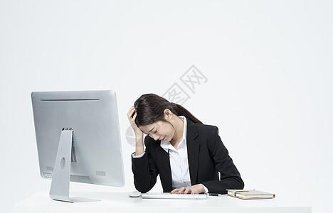 工作烦恼的职业女性图片