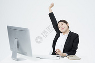 伸懒腰的职业女性图片