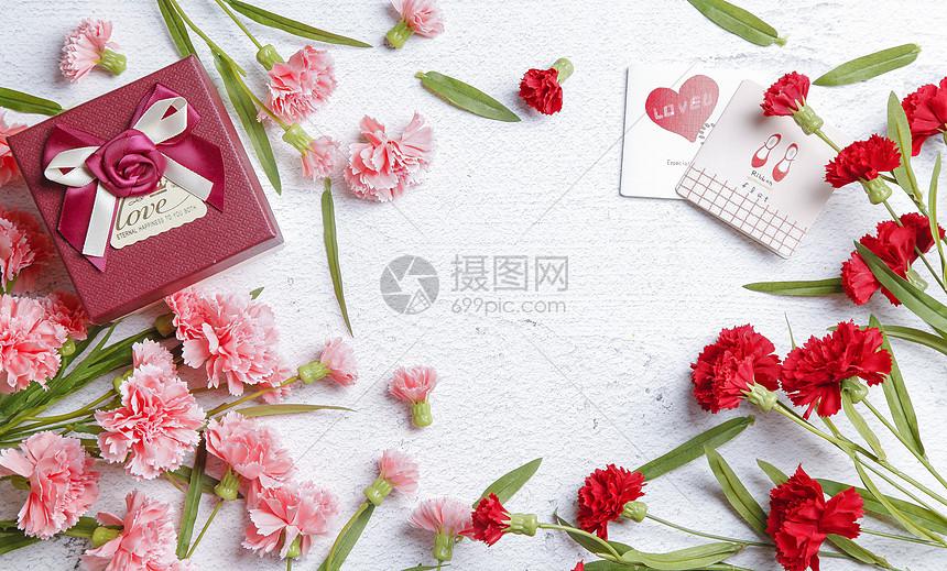 母亲节康乃馨配景图片
