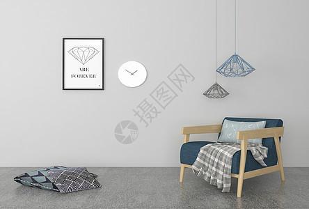 单椅吊灯挂画组合图片