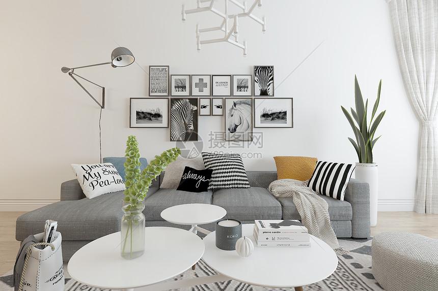 北欧客厅空间场景设计图片