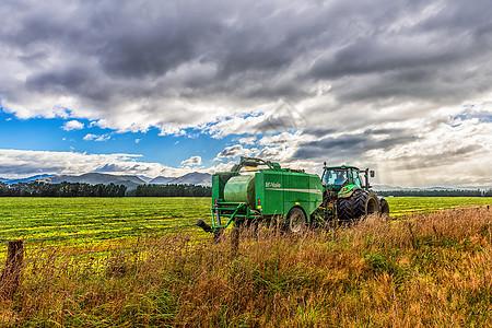 蓝天白云下的新西兰农场风光图片