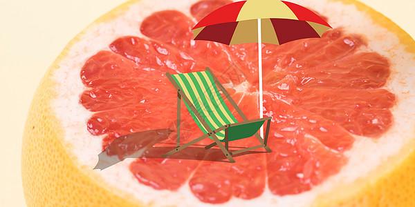 红心柚水果创意图片