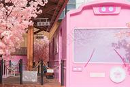 樱花列车图片
