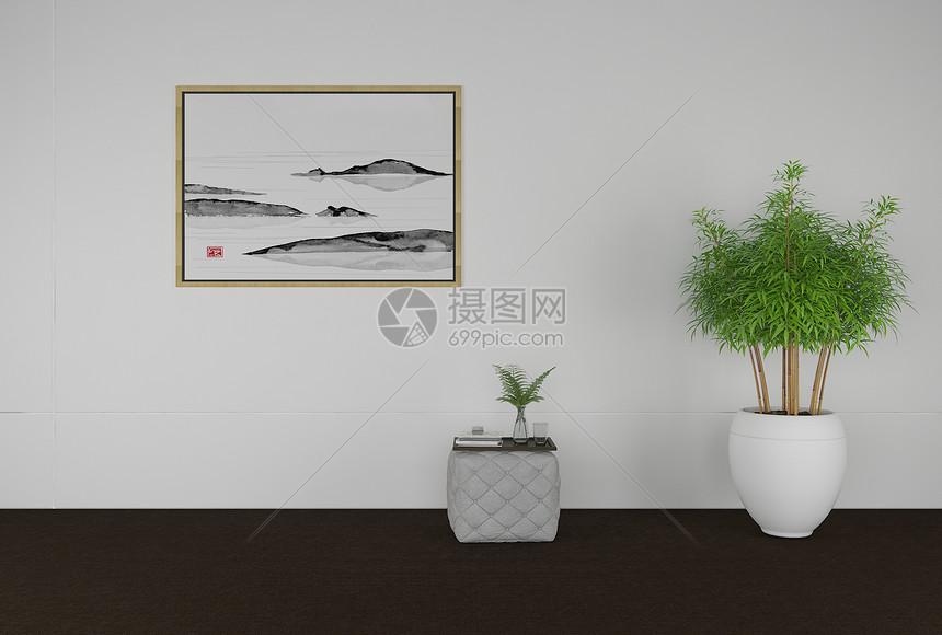 盆栽挂画坐凳组织图片