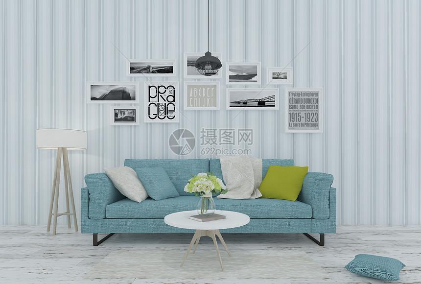 地中海简约风格家居沙发茶几组合图片