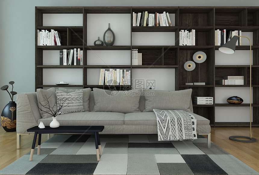 沙发书架组合图片