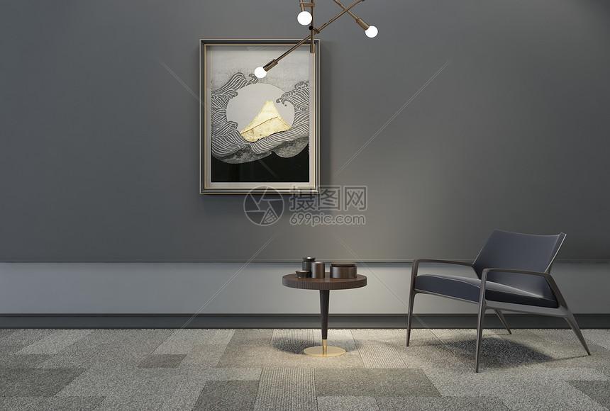 日式单椅挂画组合图片