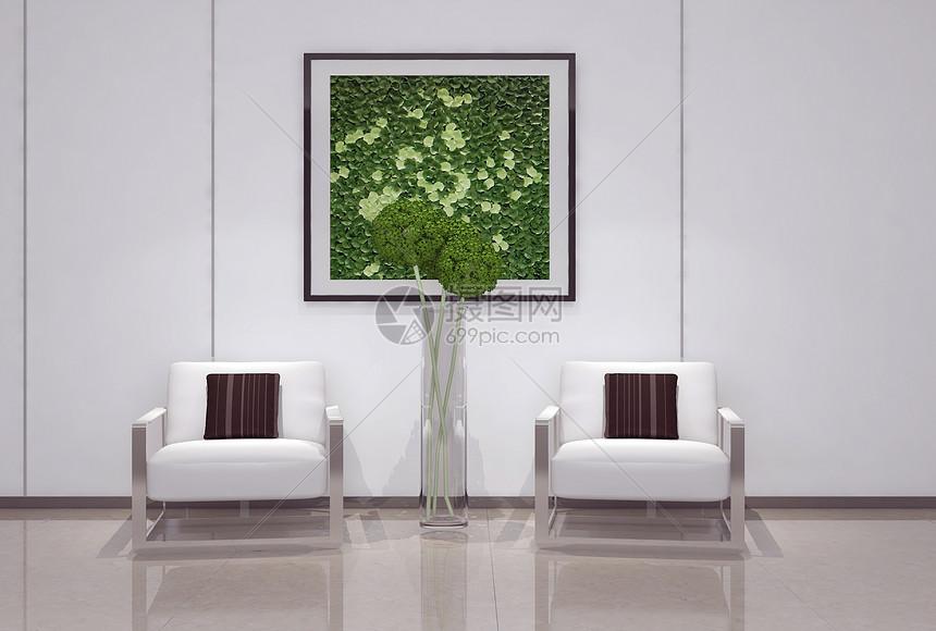 单椅盆栽组合效果图图片
