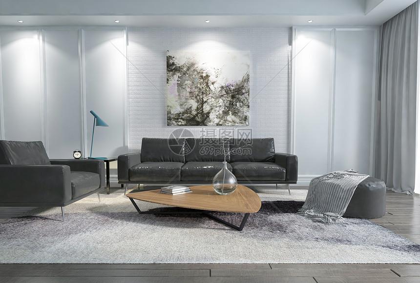 家居客厅皮质沙发座椅图片