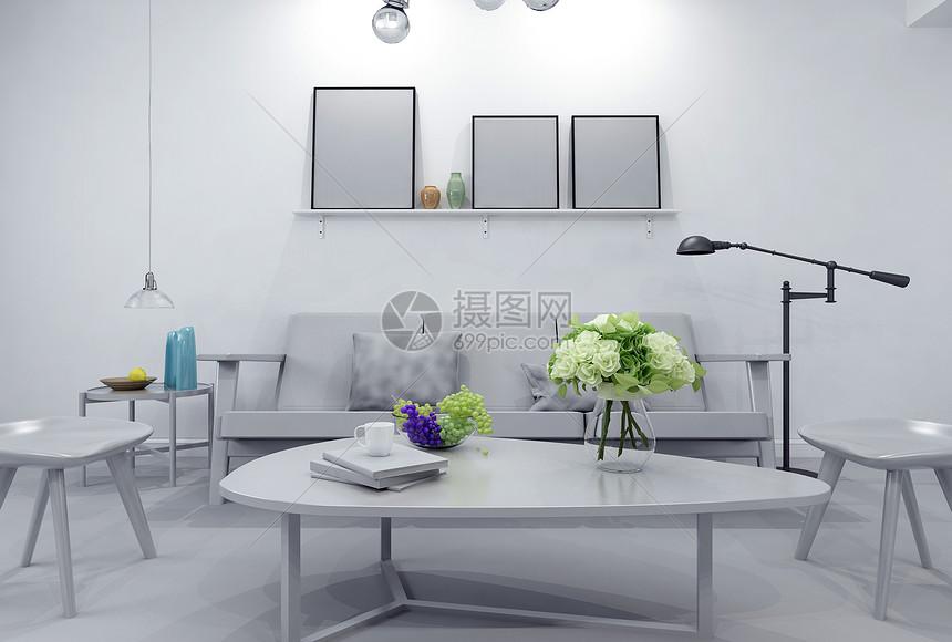 现代简约沙发茶几模型图片