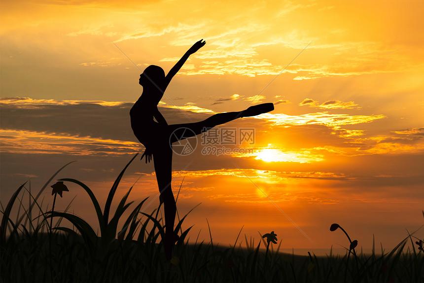 夕阳下的舞者图片