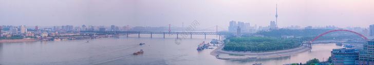 俯瞰武汉长江主轴核心段长图图片