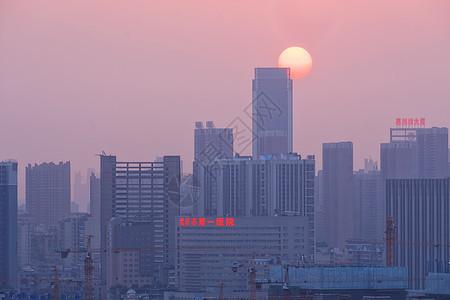 夕阳西下的武汉图片