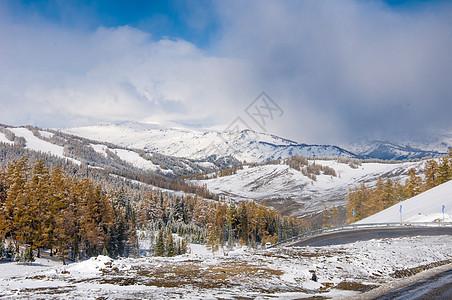 新疆阿尔泰山秋景雪景图片