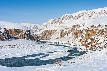 新疆天山河谷冬季雪景图片