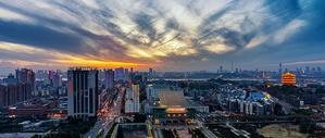 夕阳下的武汉城市风光图片