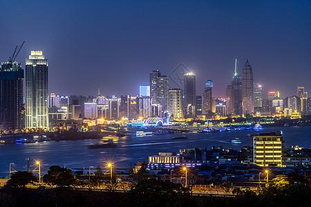 武汉城市夜景长江两岸图片
