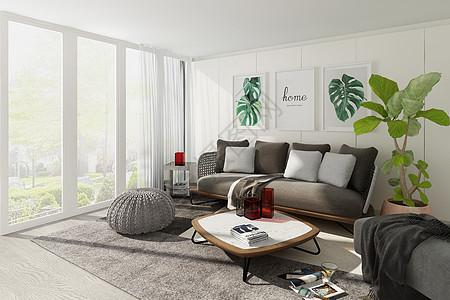 现代客厅空间场景设计图片