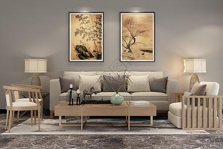 新中式客厅空间场景设计图片