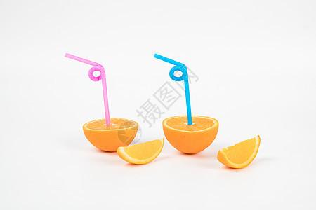 吸管和橙子图片
