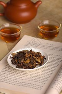 在书房里的普洱茶图片