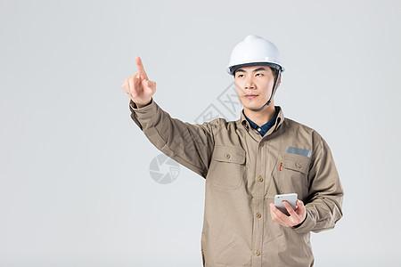 工人用手机科技点击 图片
