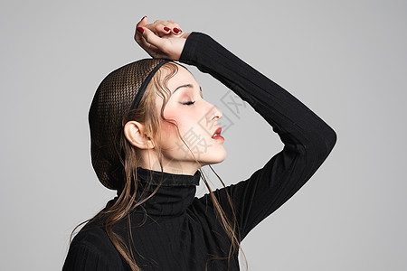 女性创意妆容情绪展示图片