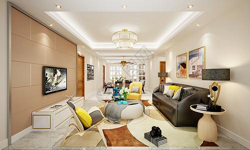 现代北欧风客厅室内设计效果图高清图片
