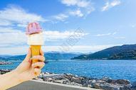 夏日休闲享受冰激凌美味图片