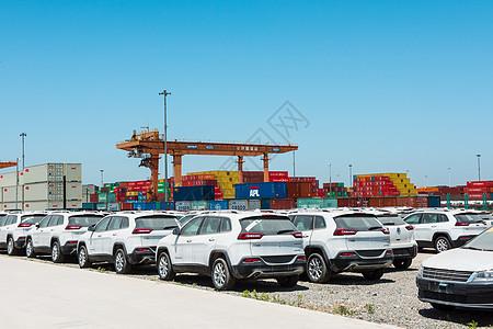 待运输的汽车货运码头图片