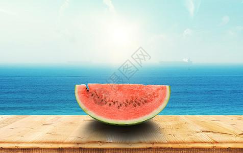 海边桌面水果图片