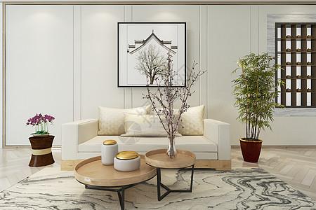 新中式休闲客厅空间图片