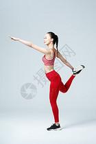 运动女性健身拉伸热身运动图片