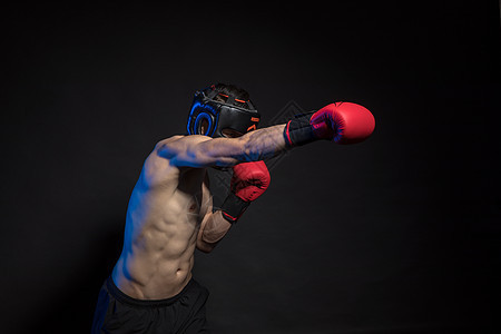 运动男性拳击肌肉创意照图片