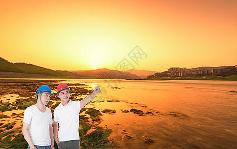 夕阳下劳动工人剪影图片