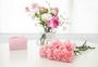桌子上的康乃馨与礼盒图片