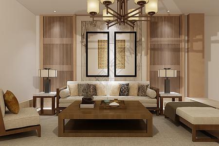中式客厅空间场景设计图片
