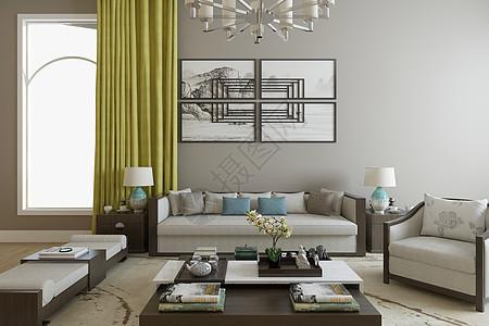 中式客厅空间场景图片