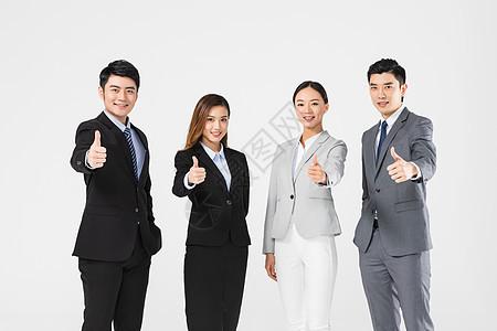 商务团队举大拇指图片