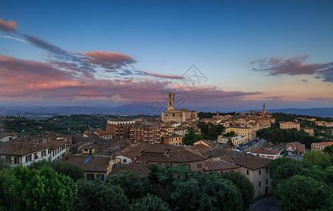美丽的意大利古城日落图片