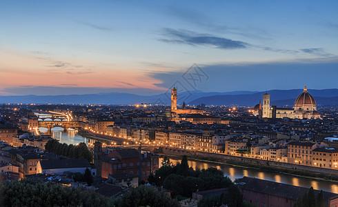 意大利佛罗伦萨美丽的日落夜景图片