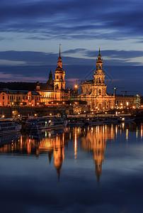 德国著名旅游城市德累斯顿夜景图片