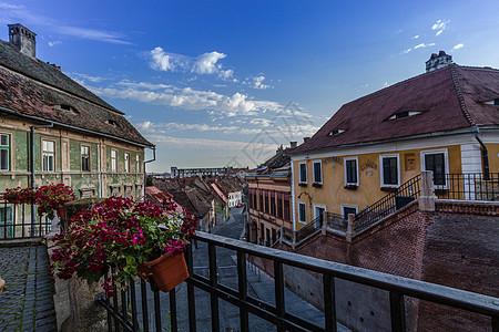 美丽的欧洲旅游小镇日出风光图片