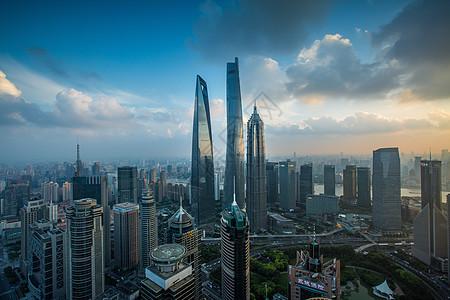 上海城市建筑日落风光图片